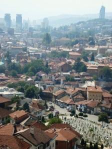 Overlooking a graveyard in Sarajevo.