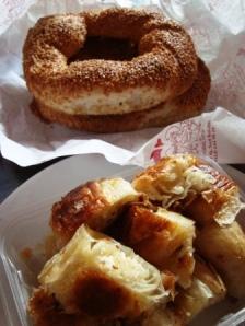 Cheese burek & sesame simit, Istanbul.